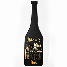 Personalized Wine Bottle Sign With Black Finish Wine Bar