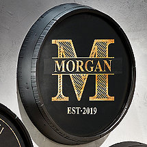 Personalized Quarter Barrel Head Sign With Black Finish Family Name